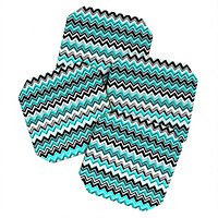 Madart Inc. Turquoise Black White Chevron Coaster Set
