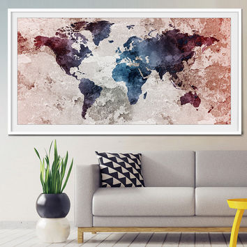 World Map Poster, Art Poster, Watercolor Poster, Wall Art Poster, Home Decor Poster, World map poster large, world maps (L19)