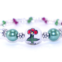 Red ruby green white flower ceramic bead memory wire bracelet, Swarovski crystal, Silver plated bead, Wrap coil bangle, Green glass pearl