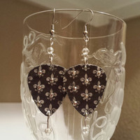 Guitar Pick Earrings - Fleur De Lis  - New Orleans - Upcycled Jewelry - Rocker Style