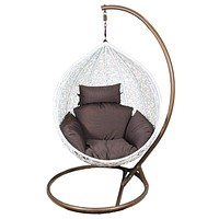 Rattan & Metal Hanging Chair By Benzara