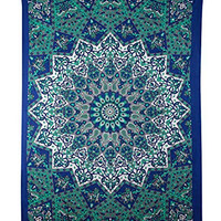 Marubhumi (TM) Twin Hippie Star Tapestries , Psychedelic Tapestry ,Sun and Moon Tapestry,star Mandala Tapestries, Throw Bedspread Queen Bed Dorm Décor (Blue Multi)