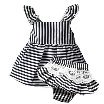 Baby Girls Clothes Summer Sunsuit Outfit Striped Backless Dress Briefs 2PCS Set