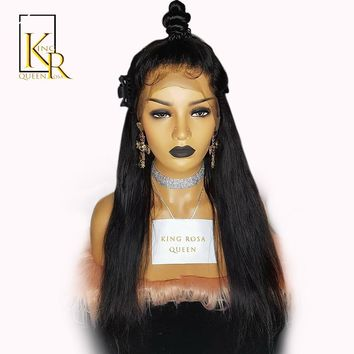 360 Lace Frontal Wig Brazilian Remy Straight Human Hair Wigs For Women Natural Black Pre Plucked With Baby Hair King Rosa Queen