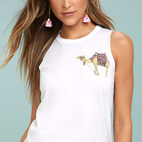 Chaser Pocket Camel White Muscle Tee
