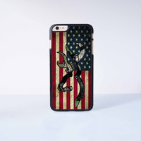 "Browning Deer Camo American Flag Plastic Phone Case For iPhone iPhone 6 Plus (5.5"") More Case Style Can Be Selected"