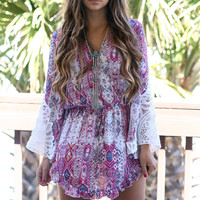 Blush Glow Tribal Print Bell Sleeve Dress
