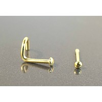 Simple Gold Dome Nose Bone or Corkscrew Nose Piercing Ring Stud
