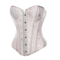 Bslingerie Womens Victorian Gothic Bustier Boned Corset Top (M, White)