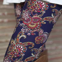 Navy/Red Paisley Leggings