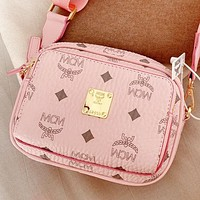 MCM New fashion more letter print leather shoulder bag crossbody bag waist bag Pink