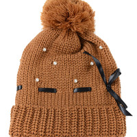 Coffee Bowknot Faux Pearl Ball Top Knitted Beanie