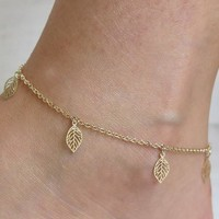 Jewelry Shiny Sexy Cute Ladies New Arrival Gift Accessory Stylish Simple Design Leaf Tassels Anklet [8080505671]