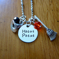Disney's Hocus Pocus Inspired Halloween Necklace. Witch Hat. Witch Broom. Swarovski Crystals. Silver colored. Hand Stamped. Free shipping