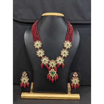 Crystal bead Glass Kundan Charm Necklace and Earrings set