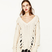 V-NECK SWEATER WITH CORDS