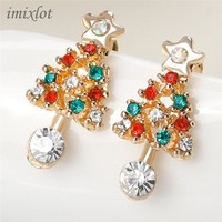 Fashion Christmas Tree Earrings for Women 2018 Vintage Colorful Crystal Stud Earring Gold Color Jewelry Female brincos