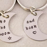 Love You To the Moon and Back Keychain | Couples Gift | Mother Daughter Gift | To the Moon and Back Keyring | Anniversary Gift | His and Her