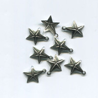 8 metal star charms 15mm x 17mm celestial silver tone jewelry making supplies