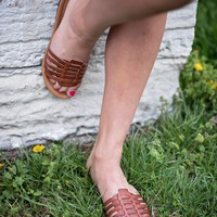 Danny Strappy Slip On Sandals - Brown