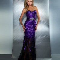Mac Duggal Prom 2013 - Purple Strapless Sequin Dress With Rhinestones - Unique Vintage - Cocktail, Pinup, Holiday & Prom Dresses.