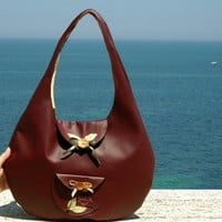 DANIELA ooak rounded red large bag with flowers and bows by lunica