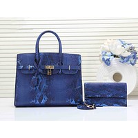 Hermes Newest Popular Women Leather Fashion Clutch Bag Handbag Tote Shoulder Bag Set Two Piece Blue