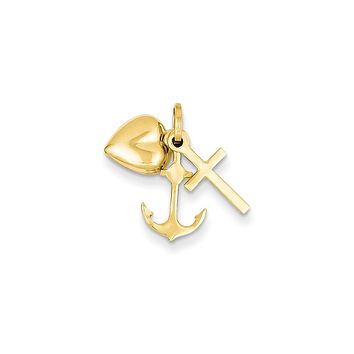 14k Yellow Gold Faith, Hope and Charity Triple Charm or Pendant, 7-8mm