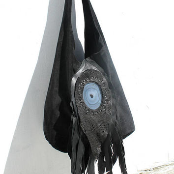 Black suede leather feathers bag hobo raw free bohemian tribal bag southwest western gothic native rock n roll bag agate stone slouchy