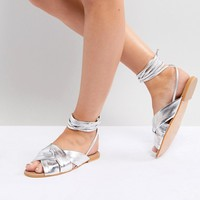 ASOS DESIGN Valley Wide Fit Knotted Tie Leg Flat Sandals at asos.com