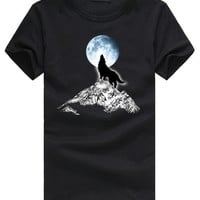 Pioneer Camp 3D Print Wolf Moon Pattern T-shirt