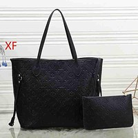 Louis Vuitton LV Women Fashion Leather Tote Crossbody Shoulder Bag Black