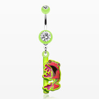 Dangling Gem Frog Belly Button Ring