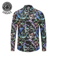 VERSACE Popular Men Women Comfortable Print Long Sleeve Lapel Shirt Top