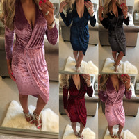 Slim Sexy V-neck Velet Irregular One Piece Dress [9694836111]