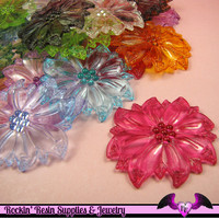 BIG FLOWER Transparent Acrylic Bead Connectors Mixed Colors 53x47mm (8 pieces)