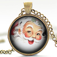 Santa Claus Necklace, Vintage Design Santa Claus Pendant, St. Nick Charm, Christmas Jewelry  (1278)