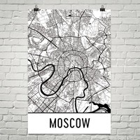 Moscow Street Map Poster