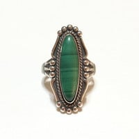 Ten% Discount Navajo Sterling Silver and Malachite Ring, Long Thin Ring, Beaded, Hallmarked, Vintage Jewelry, Southwest Jewelry