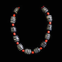 1980's Chunky Black, White, And Red Glass Bead Necklace