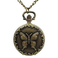 Tiny Cute Bronze Tone Butterfly Necklace Carved Case Pocket Chain Quartz Movement Watch