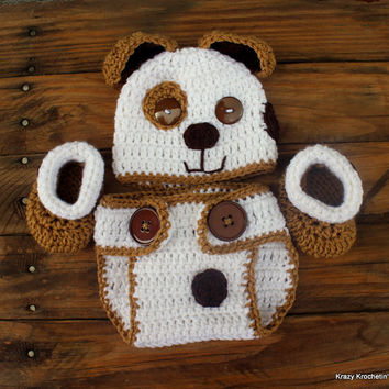 Crochet Brown/White Infant Puppy Set - Hat, Diaper Cover, Booties - Size 0-3 Months