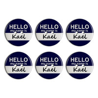Kael Hello My Name Is Plastic Resin Button Set of 6
