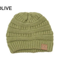 Slouchy Knit Beanie - OLIVE