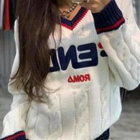 FENDI Mania V-neck Knit Sweater