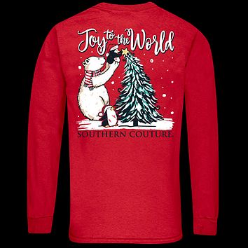 Southern Couture Classic Joy to the World Holiday Long Sleeve T-Shirt