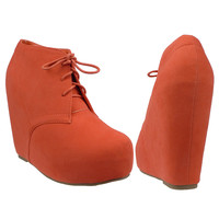 Womens Ankle Boots Sexy Lace Up Hidden Platform High Wedge Shoes Orange SZ