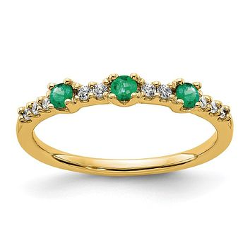 14K Yellow Gold Real Diamond and Emerald 3-Stone Ring