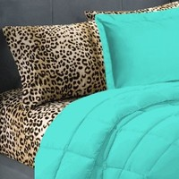 5 Piece Turquoise Leopard Twin Extra Long Bedding Set