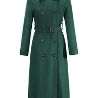 Green Lapel Double-Breasted Belted Waist Long Line Wool Coat